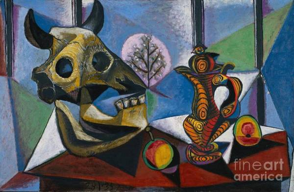 Picasso Painting - Bull Skull Fruit Pitcher by Pablo Picasso