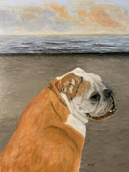 Painting - Bulldog  On The Beach by Karen Zuk Rosenblatt