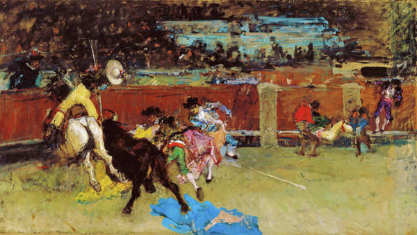 Wall Art - Painting - Bullfight, Wounded Picador - Digital Remastered Edition by Mariano Fortuny