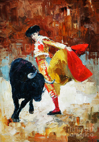 Wall Art - Digital Art - Bullfighting In Spain, Oil Painting by Maria Bo