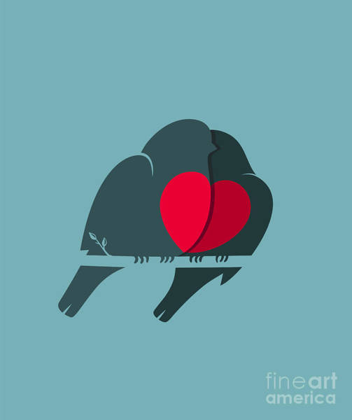 Wall Art - Digital Art - Bullfinch Birds Heart Love Couple by Popmarleo