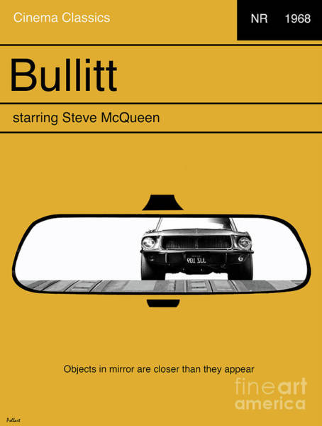 1968 Mixed Media - Bullitt, Minimalist Movie Poster, Steve Mcqueen by Thomas Pollart