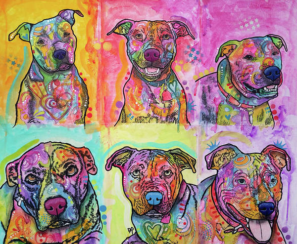 Pitbull Painting - Bullys Not Bullies by Dean Russo Art
