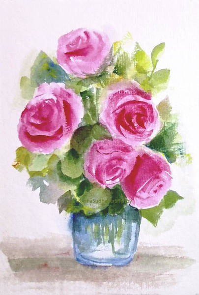Wall Art - Painting - Bunch Of Five Pink Roses by Asha Sudhaker Shenoy