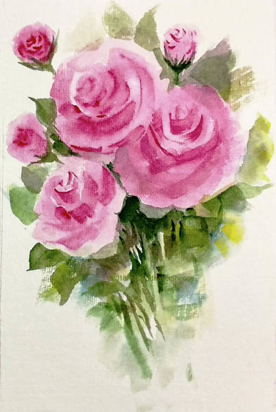 Wall Art - Painting - Bunch Of Three Roses And Buds by Asha Sudhaker Shenoy