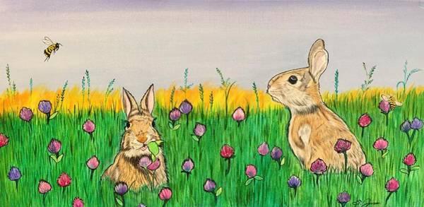 Painting - Bunnies In Clover by Sonja Jones