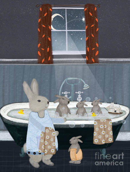 Wall Art - Painting - Bunny Bath Time by Bri Buckley