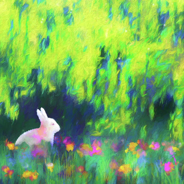 Impressionist Digital Art - Bunny Beneath The Willow Tree - Square by Jon Woodhams