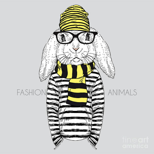 Wall Art - Digital Art - Bunny Boy Hipster Dressed Up In Frock by Olga angelloz