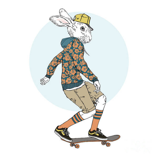 Wall Art - Digital Art - Bunny Boy Riding On A Skateboard, Furry by Olga angelloz