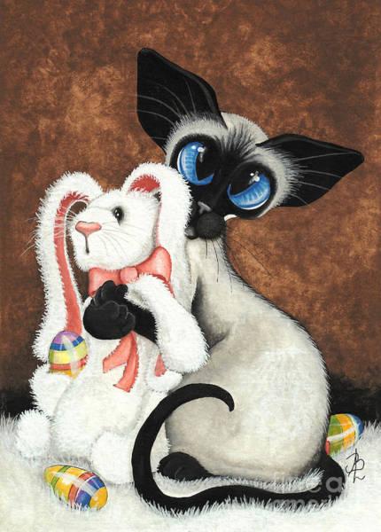 Siamese Painting - Bunny Hug Siamese Cat by AmyLyn Bihrle