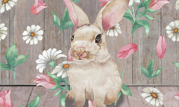 Wall Art - Mixed Media - Bunny With Spring Florals by Elizabeth Medley