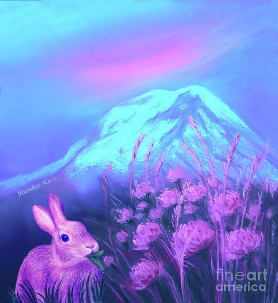Mount Rainier Painting - Bunny's Memory Of Mount Rainier by Yoonhee Ko