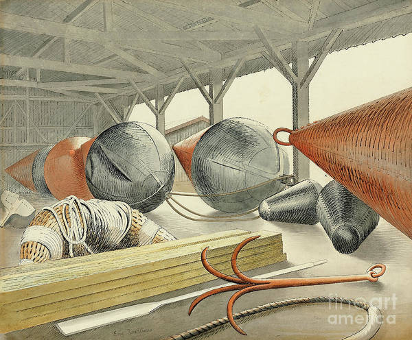 Wall Art - Painting - Buoys And Grappling Hook, 1933 by Eric Ravilious