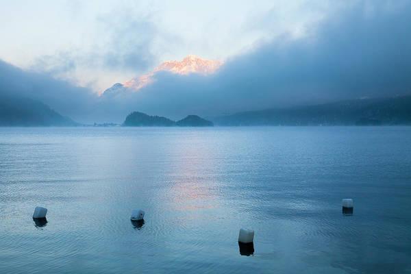 Bleached Photograph - Buoys On Lake Sils, Engadin, Switzerland by F. Lukasseck