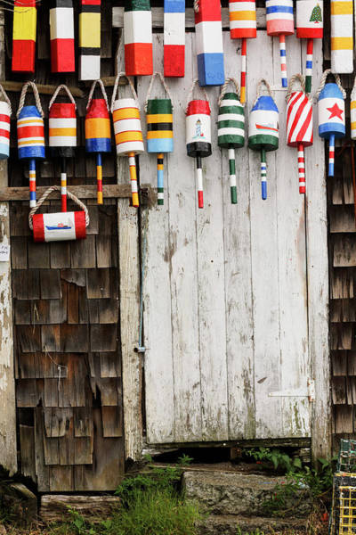 Wall Art - Photograph - Buoys On Old Building, Rockport by Adam Jones