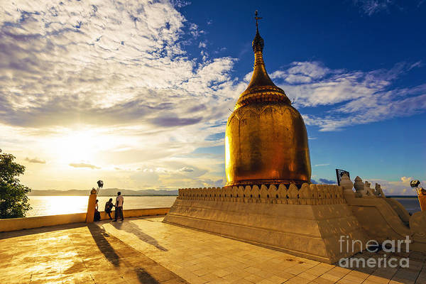 Myanmar Wall Art - Photograph - Buphaya Pagoda In Bagan, Myanmar At by Richard Yoshida