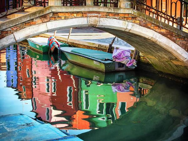 Photograph - Burano Bridge Reflections by Harriet Feagin