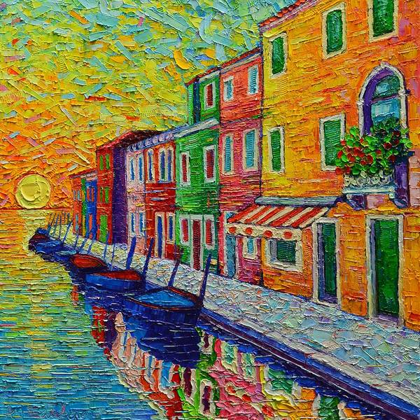 Painting - Burano Colors At Sunrise Venice Italy Modern Textural Impasto Knife Oil Painting Ana Maria Edulescu by Ana Maria Edulescu