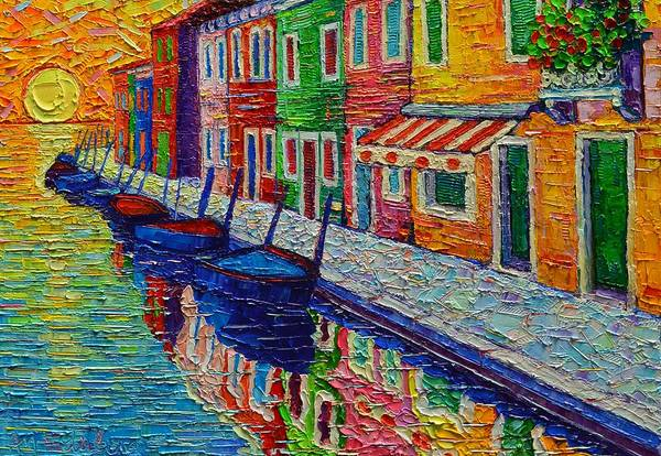 Painting - Burano Sunrise Colorful Reflections Textural Impasto Palette Knife Oil Painting Ana Maria Edulescu by Ana Maria Edulescu