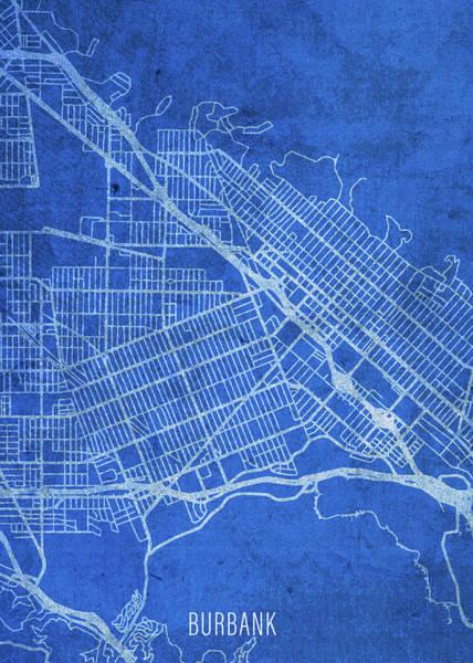 Wall Art - Mixed Media - Burbank California City Street Map Blueprints by Design Turnpike