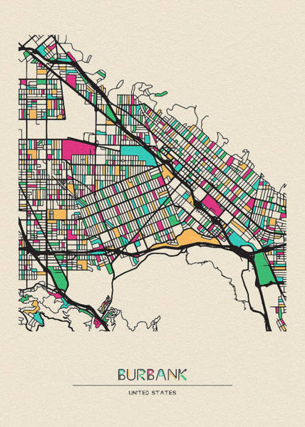 Wall Art - Drawing - Burbank, United States City Map by Inspirowl Design