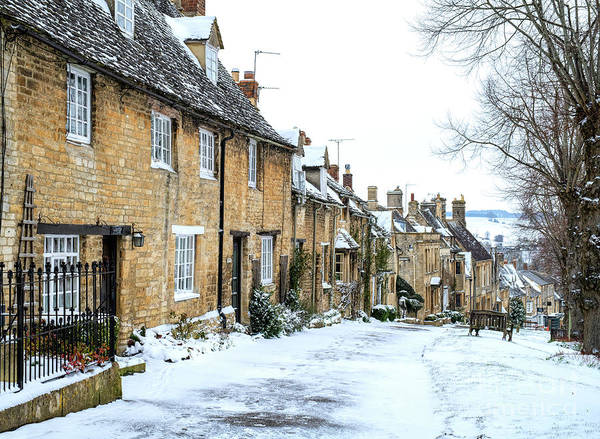 English Cottage Photograph - Burford Cottages In The Snow by Tim Gainey