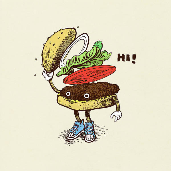 Wall Art - Drawing - Burger Greeting by Eric Fan