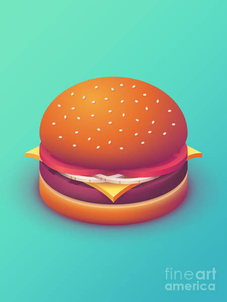 Wall Art - Digital Art - Burger Isometric - Plain Mint by Ivan Krpan
