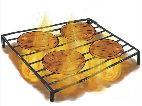 Bbq Digital Art - Burger Patties Barbecue Grill Drawing by Aloysius Patrimonio
