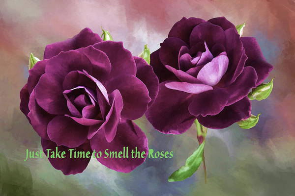Respect Digital Art - Burgundy Roses Abstract 1 Take Time To Smell The Roses  by Linda Brody