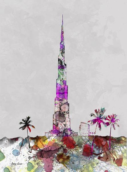 Land Mark Mixed Media - Burj Al Khalifa, Worlds Tallest Bulding, Dubai Tower, Dubai Land Mark, Artist Singh by Artist Singh MAPS