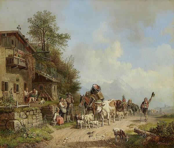 Wall Art - Painting - Burkel, Heinrich 1802 Pirmasens - 1869 Munich Mountain Inn by Celestial Images