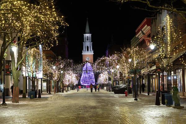 Photograph - Burlington Vermont Church Street At Christmas by Jeff Folger
