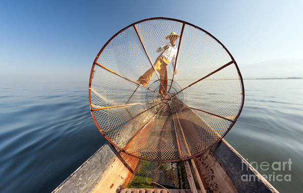 Myanmar Wall Art - Photograph - Burma Myanmar Inle Lake Fisherman On by Banana Republic Images
