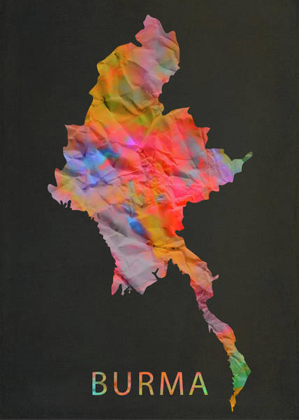 Burma Wall Art - Mixed Media - Burma Tie Dye Colorful Country Map by Design Turnpike