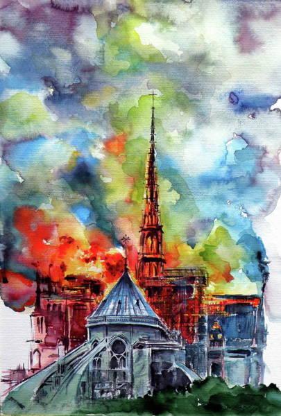 Notre Dame Painting - Burning Notre Dame II by Kovacs Anna Brigitta