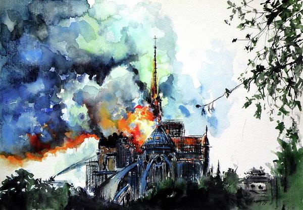 Wall Art - Painting - Burning Notre Dame by Kovacs Anna Brigitta