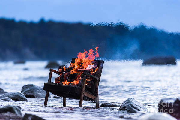 Wall Art - Photograph - Burning Old Armchair On The Seashore by Anatoli Styf