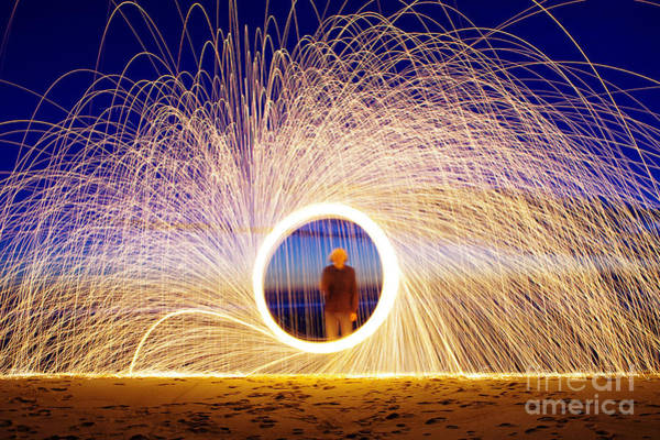 Wall Art - Photograph - Burning Steel Wool Spinned Near The by Andrius saz