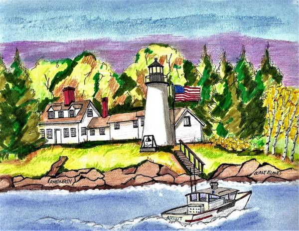 Wall Art - Drawing - Burnt Island Lighthouse by Paul Meinerth