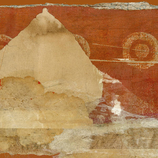Wall Art - Mixed Media - Burnt Orange Collage Square Version by Carol Leigh