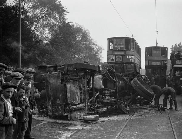 Crisis Photograph - Burnt Out Steam Lorry by Fox Photos