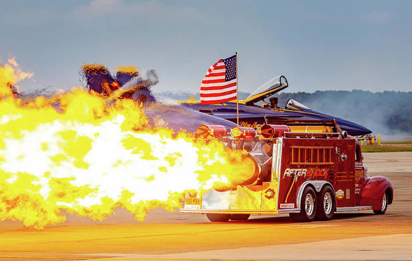 Photograph - Burst Of Flames Jet Fire Truck by Donna Corless