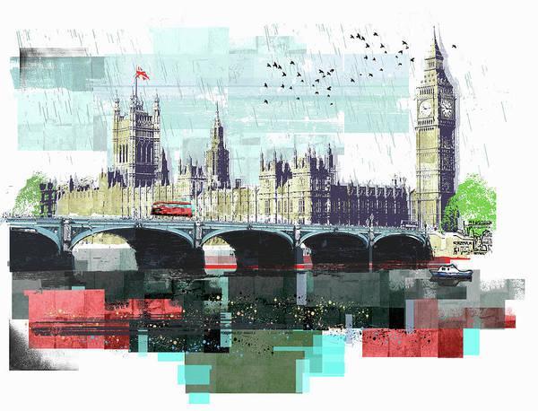 Bus Crossing Westminster Bridge By Art Print by Sarah Jones