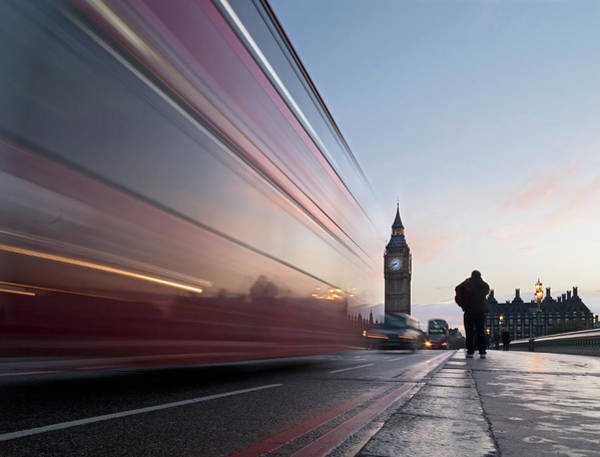 The Clock Tower Photograph - Bus Crossing Westminster Bridge In by Daniel Sambraus / Stock4b