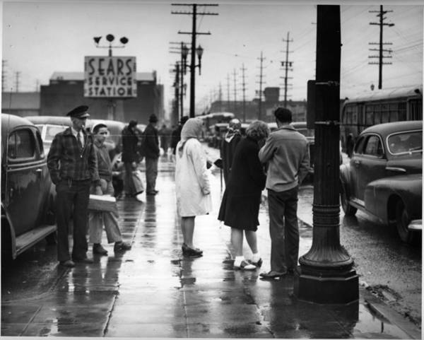 Stop Light Painting - Bus Stop At 1st And Lander, Seattle  1946 by Celestial Images