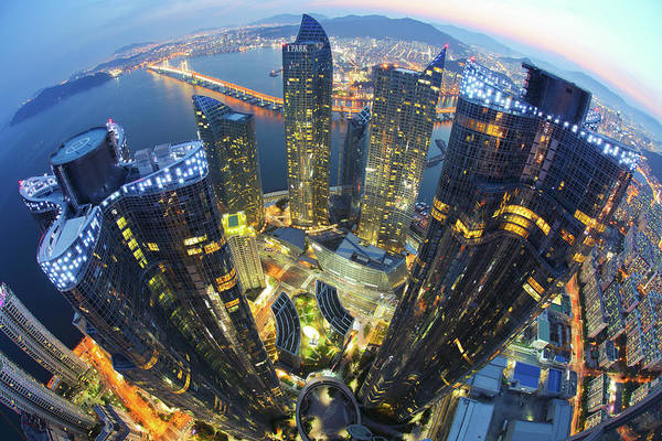 Fish Eye Lens Photograph - Busan Skyline City by Js`s Favorite Things
