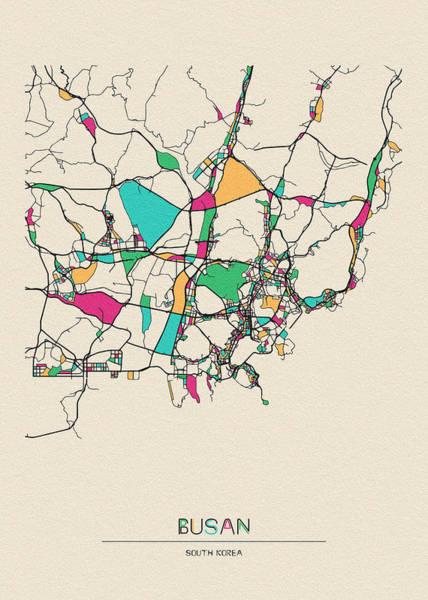 Wall Art - Drawing - Busan, South Korea City Map by Inspirowl Design