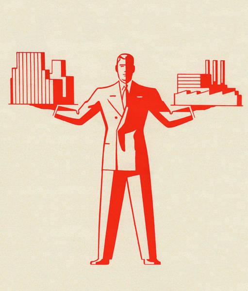 Exterior Digital Art - Businessman Holding Buildings by Graphicaartis